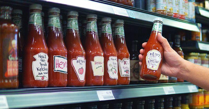 Etiquetas de Heinz Draw Ketchup